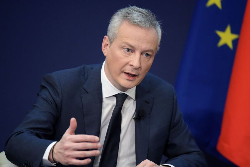French Economy  Minister Bruno Le Maire addresses a conference  on February 15, 2018 at the Economy Ministry in Paris.