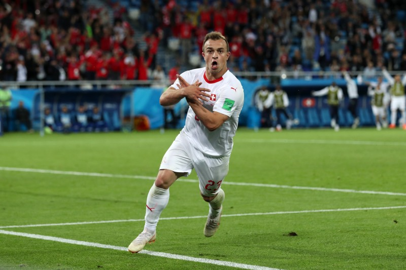 Swiss winger Xherdan Shaqiri celebrates after scoring the winning goal in the 2018 World Cup match between Serbia and Switzerland at Kaliningrad Stadium on June 22. (Clive Rose/Getty Images)