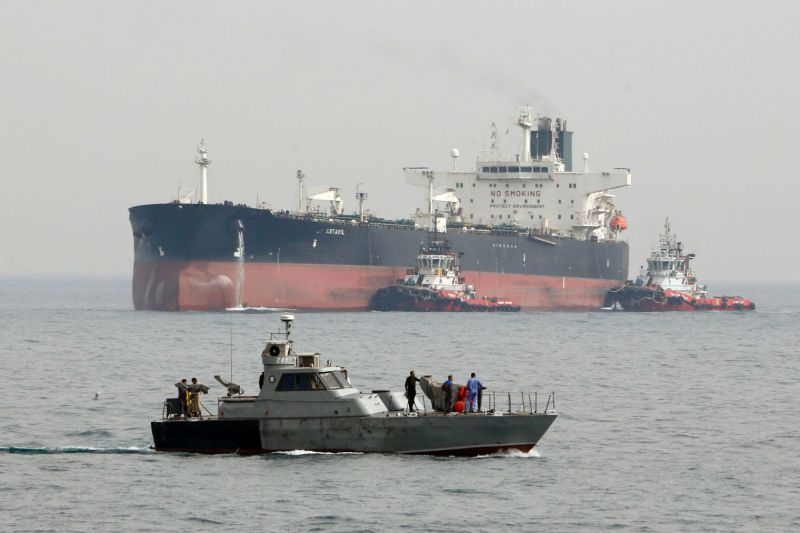 An oil tanker prepares to dock at Khark Island in the Persian Gulf on March 12, 2017. (Atta Kenare/AFP/Getty Images)