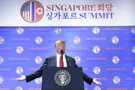 U.S. President Donald Trump speaks at a press conference following the U.S.-North Korea summit in Singapore on June 12. (Saul Loeb/AFP/Getty Images)