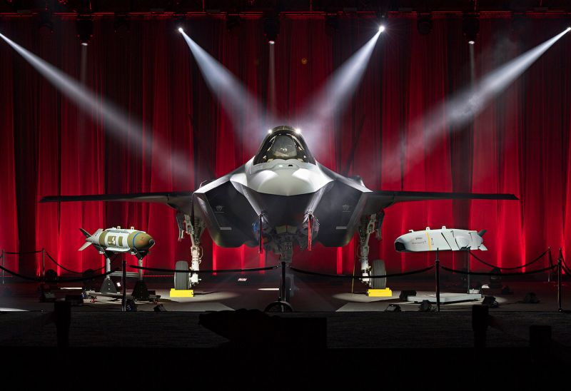 An F-35 fighter jet on display at a roll-out ceremony for Turkey's F-35s in Forth Worth, Texas on June 21. (Lockheed Martin)