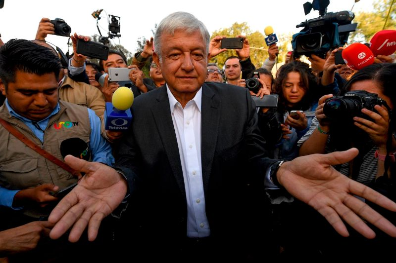 Andrés Manuel López Obrador gestures after voting during general elections, in Mexico City, on July 1, 2018.