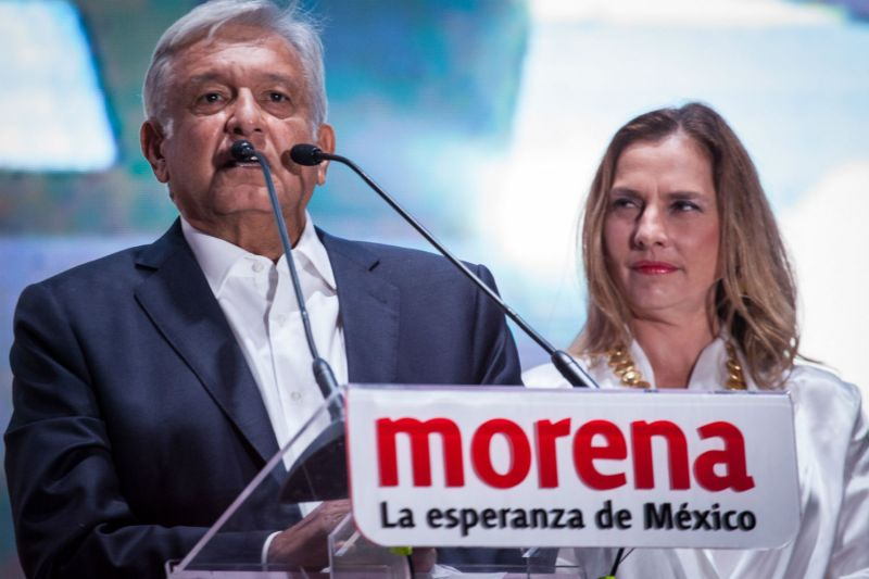 Mexican President Elect Andres Manuel López Obrador speaks after his electoral victory, Mexico City, Mexico, Jul. 1, 2018. (Pedro Mera/Getty Images)