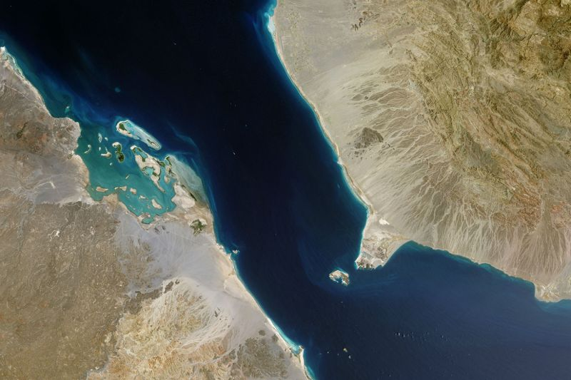 A satellite view of the Bab el-Mandeb Strait near Yemen on March 28, 2015. (USGS/NASA Landsat/Orbital Horizon/Gallo Images/Getty Images)