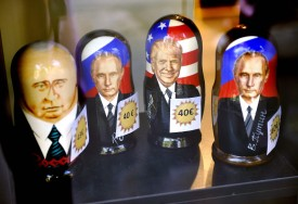Russian Matryoshka dolls depicting Russian President Vladimir Putin and US President Donald Trump are on sale in the Ruslania book store in Helsinki on July 9. (Timo Jaakonaho/AFP/Getty Images)