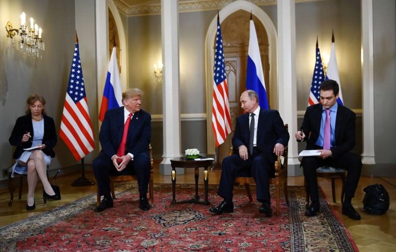 Russian President Vladimir Putin and U.S. President Donald Trump meet in Helsinki, on July 16. (Brendan Smialowski / AFP/Getty Images)
