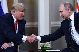 Russian President Vladimir Putin and U.S. President Donald Trump in Helsinki on July 16. (Brendan Smialowski/AFP/Getty Images)