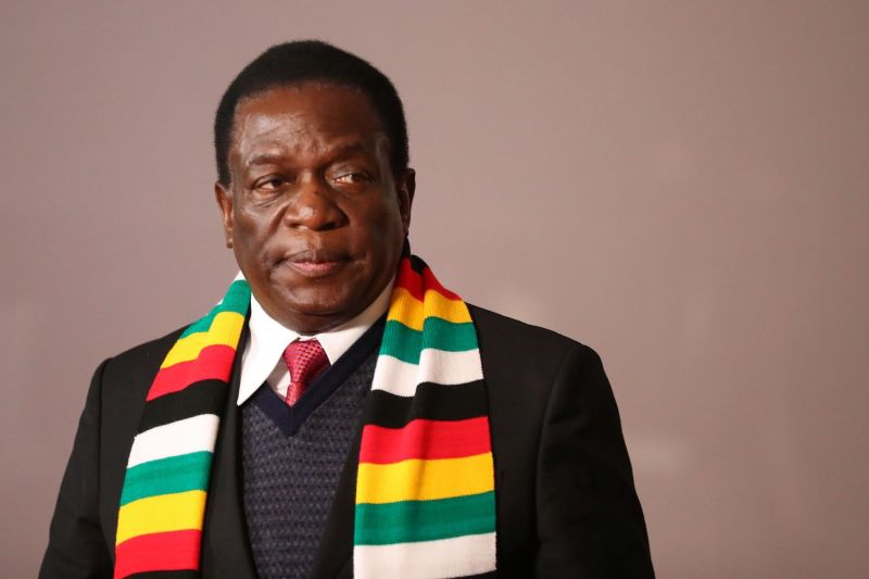 Zimbabwean President Emmerson Mnangagwa in Johannesburg on July 27. (Mike Hutchings/AFP/Getty Images)