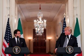 U.S. President Donald Trump and Italian Prime Minister Giuseppe Conte hold a joint press conference in the White House in Washington on July 30. (Saul Loeb/AFP/Getty Images)