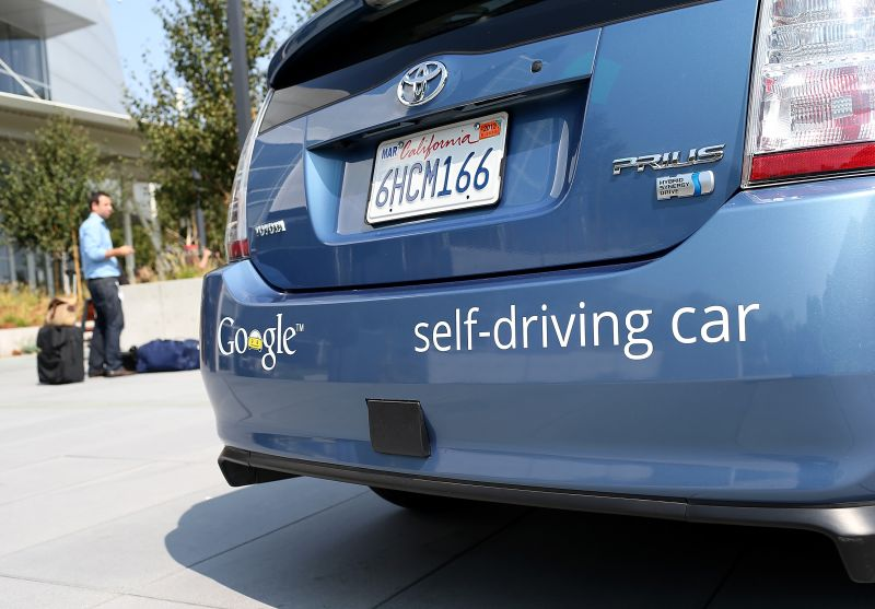 A Google self-driving car is displayed at the Google headquarters on September 25, 2012 in Mountain View, California.  (Justin Sullivan/Getty Images)