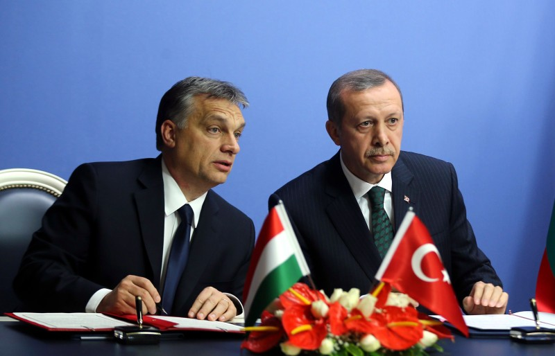 Hungary's Prime Minister Viktor Orban and his Turkish counterpart Recep Tayyip Erdogan sign agreements in Ankara on December 18, 2013. (Adem Altan/AFP/Getty Images)