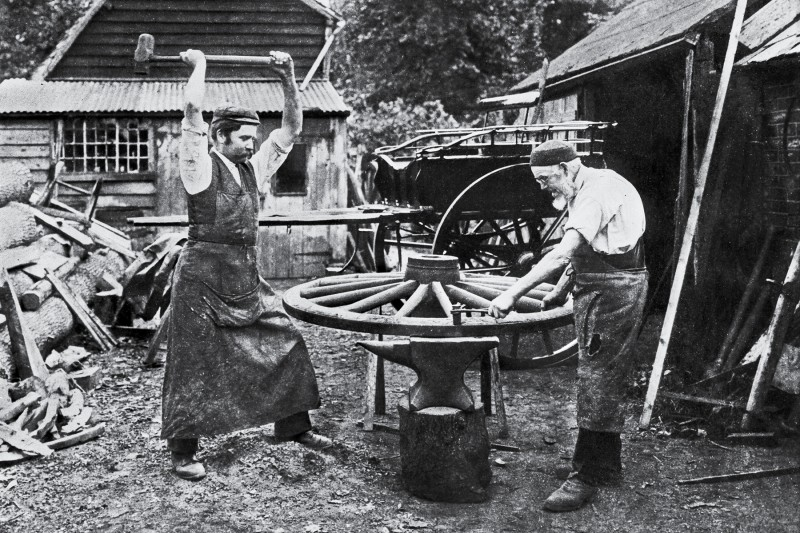 Wheelwrights at Work, circa 1890. (Photo by Past Pix/SSPL/Getty Images)