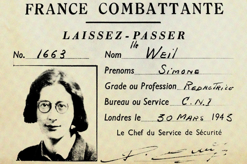 Simone Weil's pass, when she worked for the French resistance. (Photo12/UIG via Getty Images/Foreign Policy illustration)