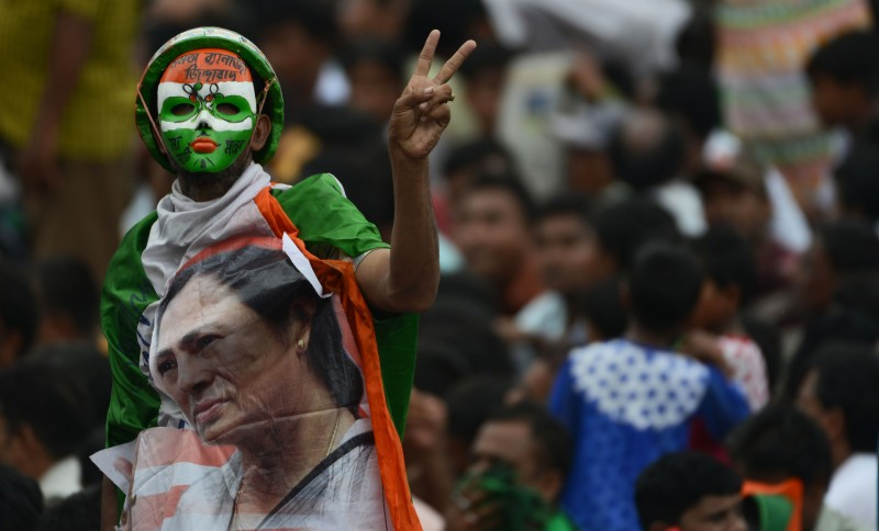 Hundreds of thousands of Indian Trinamool Congress Party (TMC) supporters attend a mass meeting addressed by West Bengal chief minister and TMC chief Mamata Banerjee in Kolkata on July 21, 2016. (DIBYANGSHU SARKAR/AFP/Getty Images)