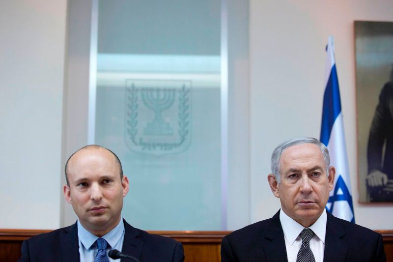 Israeli Prime Minister Benjamin Netanyahu and Education Minister Naftali Bennett in Jerusalem on August  30, 2016. (Abir Sultan/AFP/Getty Images)
