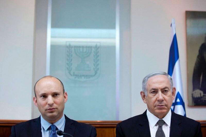 Israeli Prime Minister Benjamin Netanyahu and Education Minister Naftali Bennett in Jerusalem on August  30, 2016. (Abir Sultan/AFP/Getty Images)