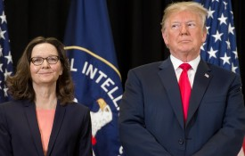 U.S. President Donald Trump stands alongside Gina Haspel before she is sworn in as director of the Central Intelligence Agency during a ceremony at CIA Headquarters in Langley, Virginia on May 21. (Saul Loeb/AFP/Getty Images)