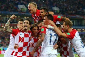 Members of the Croatian soccer team celebrate after scoring a goal against Nigeria at Kaliningrad Stadium on June 16. (Alex Livesey/Getty Images)