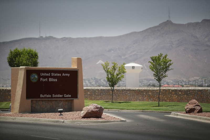 An entrance to Fort Bliss is shown as reports indicate the military will begin to construct temporary housing for migrants. (Photo by Joe Raedle/Getty Images)