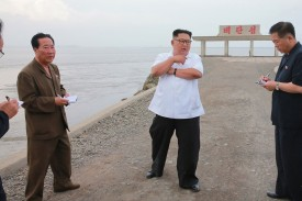 North Korean leader Kim Jong Un inspects Sindo county in a recently released, undated photo. STR/AFP/Getty Images