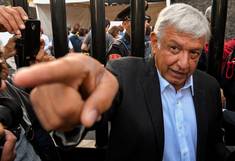 Andres Manuel Lopez Obrador gestures after voting during general elections, in Mexico City, on July 1, 2018. (ULISES RUIZ/AFP/Getty Images)