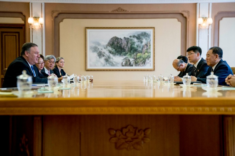 US Secretary of State Mike Pompeo (L) speaks during a meeting with North Korea's director of the United Front Department, Kim Yong Chol (R) at the Park Hwa Guest House in Pyongyang on July 6, 2018. (ANDREW HARNIK/AFP/Getty Images)