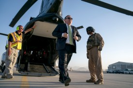 Secretary of State Mike Pompeo arrives at Camp Alvarado in Kabul, Afghanistan on July 9, 2018. (Andrew Harnik/AFP/Getty Images)
