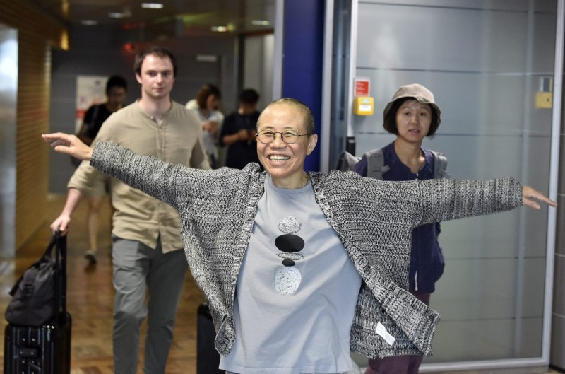 Liu Xia, the widow of Chinese Nobel dissident Liu Xiaobo, at the Helsinki International Airport on July 10. (Jussi Nukari/AFP/Getty Images)