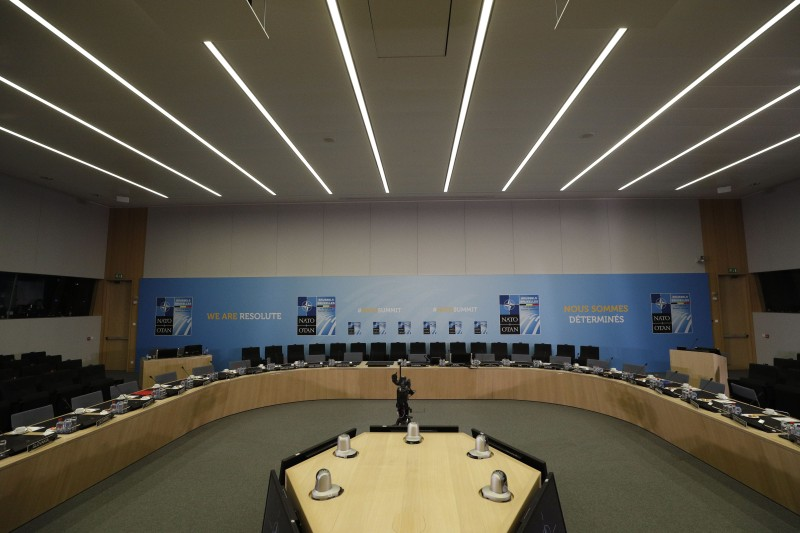 A general view taken on July 12, 2018 shows an empty room on the second day of the North Atlantic Treaty Organization (NATO) summit in Brussels. (GEOFFROY VAN DER HASSELT / AFP)