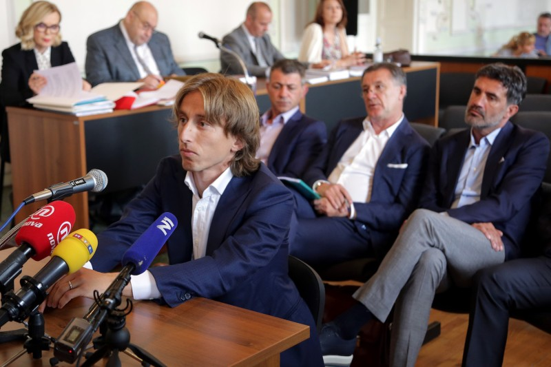 Croatia and Real Madrid midfielder Luka Modric appears in court to testify in a corruption trial in Osijek, Croatia, on June 13, 2017. (STR/AFP/Getty Images)