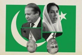 Former Pakistani Prime Ministers Nawaz Sharif, Benazir Bhutto, Zulfikar Ali Bhutto, and Shaukat Aziz. (Sean Gallup/Getty Images/Daniel Berehulak/Getty Images/Aamir Queshi/AFP/Getty Images/AFP/Getty Images)