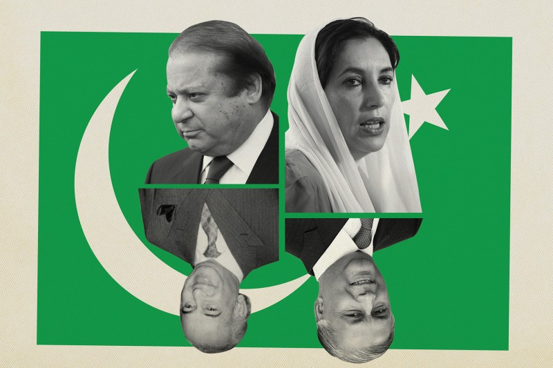 Former Pakistani Prime Ministers Nawaz Sharif, Benazir Bhutto, Zulfikar Ali Bhutto, and Shaukat Aziz. (Sean Gallup/Getty Images/Daniel Berehulak/Getty Images/Aamir Queshi/AFP/Getty Images/AFP/Getty Images)