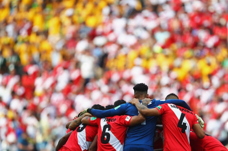 Peruvian players huddle prior before the 2018 FIFA World Cup Russia group C match between Australia and Peru at Fisht Stadium on June 26 in Sochi, Russia. (Dean Mouhtaropoulos/Getty Images)