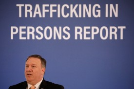 U.S. Secretary of State Mike Pompeo speaks about the release of the Trafficking in Persons report at the State Department in Washington on June 28. (Aaron P. Bernstein/Getty Images)