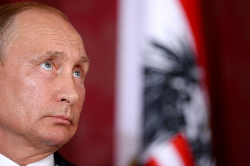Russian President Vladimir Putin attends the 50th anniversary of a gas pipeline to Europe in Vienna on June 5. (Thomas Kronsteiner/Getty Images)