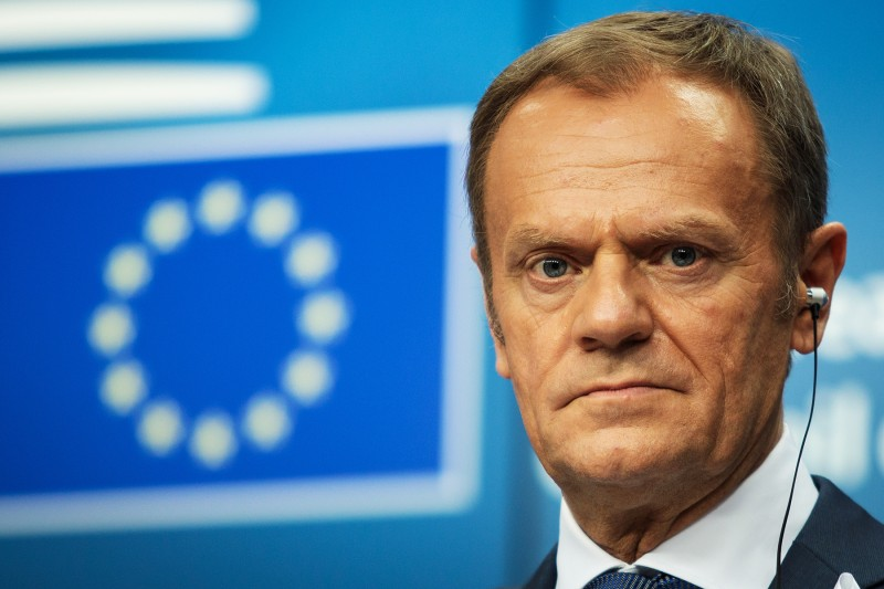 President of the European Council Donald Tusk during a news conference in Brussels on March 22. (Jack Taylor/Getty Images)