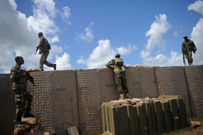 Somali soldiers patrol Sanguuni military base south of Mogadishu, Somalia, on June 13. (Mohamed Abdiwahab/AFP/Getty Images)