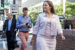 Canadian Foreign Affairs Minister Chrystia Freeland arrives for a meeting in Washington with U.S. Trade Representative Robert Lighthizer to salvage NAFTA, on Aug. 30. (Jim Watson/AFP/Getty Images)