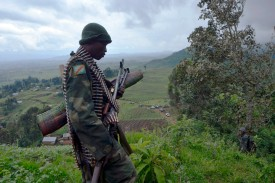 A soldier from the Democratic Republic of Congo's Army at a hilltop outpost in Chanzu in the eastern North Kivu region, November 5, 2013.