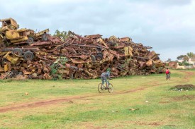 A picture taken on July 20, shows military tanks and trucks destroyed in the Eritrea-Ethiopia border war are piled as a monument in the Eritrean capital Asmara. (Maheder Haileselassie Tadese/AFP/Getty Images)