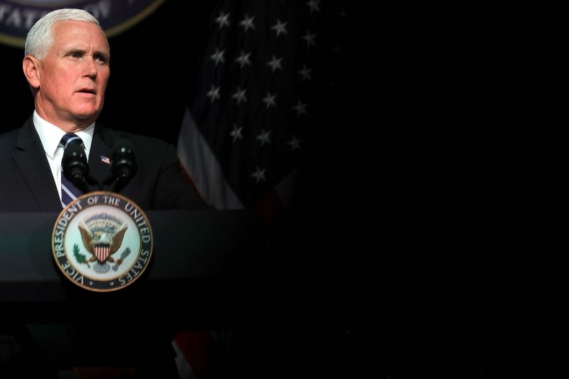 U.S. Vice President Mike Pence announces the Trump administration's plan to create the U.S. Space Force by 2020 during a speech at the Pentagon August 9, 2018 in Arlington, Virginia. Photo by Chip Somodevilla/Getty Images