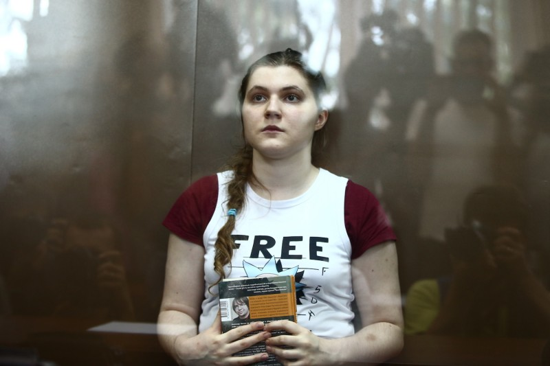 Anna Pavlikova, a Russian teen who was arrested on charges of organizing an extremist group, listens during a hearing in Moscow's Dorogomilovsky District Court on Aug. 16. (Valery Sharifulin/TASS Images/ Getty Images)
