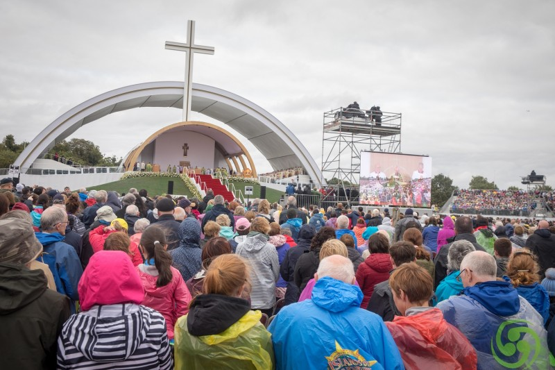DUBLIN, IRELAND - AUGUST 26:  People gather for the Closing Mass in Phoenix Park on August 26, 2018 in Dublin, Ireland. (Photo by Matt Cardy/Getty Images)