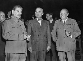 Soviet Premier Joseph Stalin, U.S. President Harry Truman, and British Prime Minister Winston Churchill at the conference to negotiate the future of Europe after World War II in Potsdam, Germany on July 23, 1945. (AFP/Getty Images)