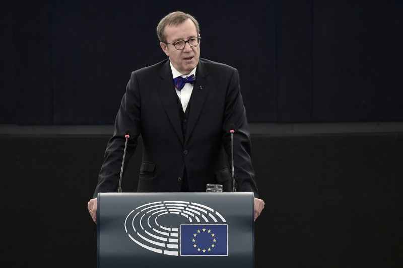 Then-Estonian President Toomas Hendrik Ilves delivers a speech during a plenary session of the European Parliament in Strasbourg, France, on Feb. 2, 2016.  (Frederick Florin/AFP/Getty Images)