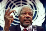 United Nations Secretary-General Kofi Annan addresses a press conference at U.N. headquarters on February 13, 1997. (Jon Levy/AFP/Getty Images)