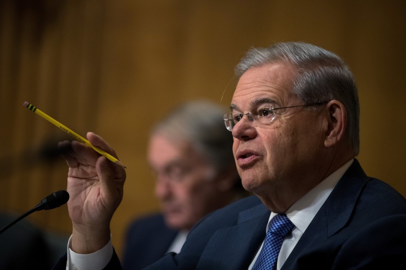 Sen. Bob Menendez (D-N.J.) questions witnesses during a Senate Foreign Relations Committee hearing on Capitol Hill on May 26, 2016. (Drew Angerer/Getty Images)