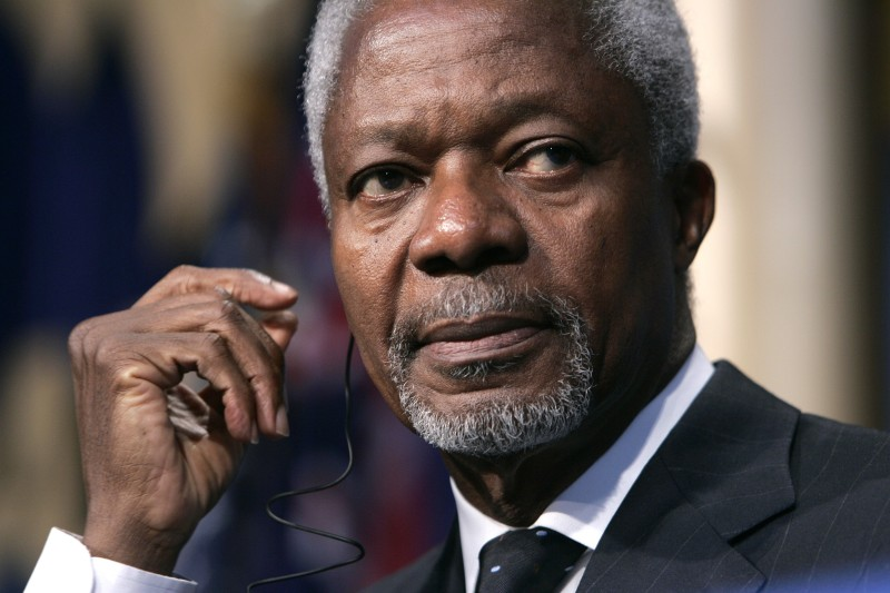United Nations Secretary-General Kofi Annan listens to a translation of German Chancellor Angela Merkel?s speech at the American Jewish Committee (AJC) 100th anniversary gala at the National Building Museum on May 4, 2006 in Washington, DC.  (Matthew Cavanaugh-POOL/Getty Images)