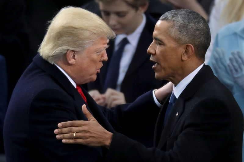 Former U.S. President Barack Obama congratulates U.S. President Donald Trump after he took the oath of office on the West Front of the U.S. Capitol on Jan. 20, 2017 in Washington, DC. (Chip Somodevilla/Getty Images)