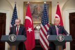 U.S. President Donald Trump and Turkish President Recep Tayyip Erdogan deliver joint statements at the White House on May 16, 2017. (Michael Reynolds-Pool/Getty Images)